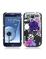 Aimo Wireless SAMI9300PC3D-SPC500 3D Premium Stylish Diamond Bling Case for Samsung Galaxy S3 i9300 - Retail Packaging - Black Rose Flowers