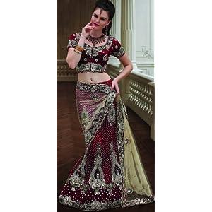 Surya Sarees Red Women Net - Lehenga Choli