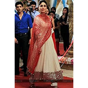Kareena Kapoor In Cream Resham Embroidery Anarkali Suit By Ethnic Station