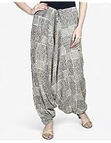 Cotton Mull Printed Harem Low Crotch Pant-