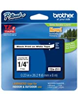 Brother Laminated Tape Black on White, 6mm (TZe211)