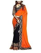 Rajlaxmi Women's Georgette Saree (Orange)