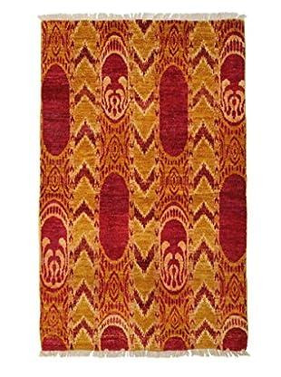 Darya Rugs Ikat Oriental Rug, Red, 3' 10