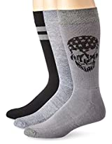 Lucky Men's 3 Pair Pack Athletic Skull Crew Sock, Black, 10-13/Shoe Size 6-12