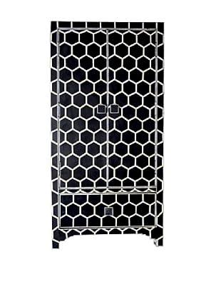 Shine Creations Bone Inlay Cabinet, Black/White