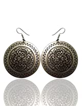 Optionsz Antique Theme Royal Style Floral Embosed Silver Color Round Shape Desinger Hanging Dangle Earring , OPTERJPAZ237