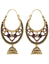 Ganapathy Gems Maroon & Blue Metal Chandbali Earrings for Women (5545)