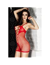 Fishnet See-through Chemise Dress, NG21344-Red