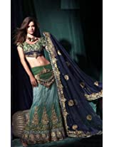 Designer Lehenga Choli In Net & Georgette With Green & Blue Color