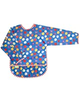 Taffeta Waterproof Bib With Sleeves | Blue Crazy circles Size , Infant