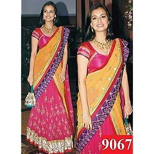 Traditional Designer Half & Half Pink & Yellow Georgette Fancy Saree