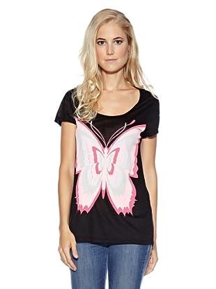 Cream T-Shirt Butterfly (Schwarz)