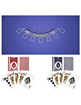 Blue Blackjack Layout & Two Decks of Playing Cards [10-3186BRB] -
