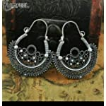 Silver Oxidized Silver Oxidised Silver Traditional Hoop Earring vintage tibatian stylr