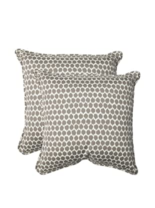 Pillow Perfect Set of 2 Outdoor Seeing Spots Throw Pillows, Brown