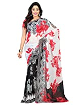 Admyrin Off-white and Black Georgette Saree with Pink Blouse Piece