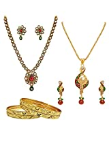 Surat Diamonds Ethnic Polki & Gold Plated Necklace & Pendant Earring Sets with 4 Gold Plated Bangles for Women (H1438)