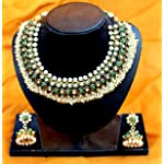 Traditional Temple Necklace (With Green Stones And Pearls)