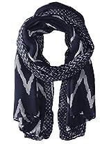 Saro Lifestyle Women's Ikat Printed Design Shawl, Navy Blue, One Size