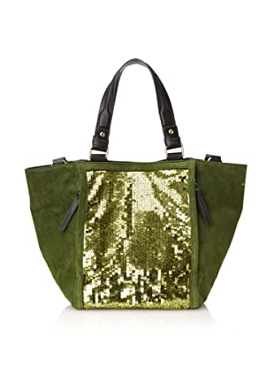 Nanette Lepore Women's Material Block Small Sequined Tote (Green Sequin)
