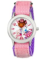 Disney Kids W001933 Doc McStuffins Stainless Steel Time Teacher Watch with Pink Band