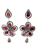 Aabhushan Jewels Silver Plated Dangle & Drop Earring For Girls (Red)