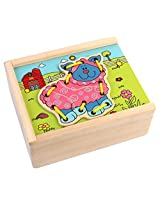 PIGLOO 4-Piece Wooden Lacing Puzzle Toy for Kids Ages 3+ Years