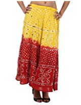 Rajrang Cotton Long Skirt For Women In Red-Yellow