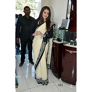 High5Store.com 75654 Aishwarya Rai Saree - Cream & Black