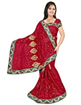 Chinco Embroidered Saree With Blouse Piece (503-A_Maroon)