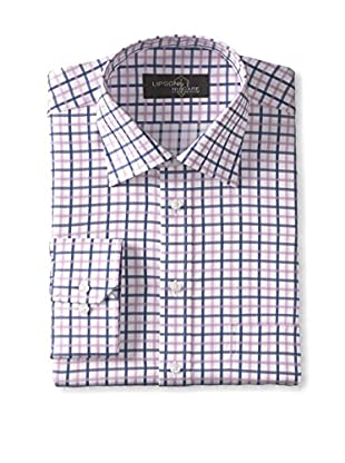 Lipson Shirtmakers Men's Micro Check Long Sleeve Nucare Dress Shirt (Pink)