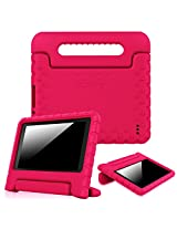 """Fintie Fire 7 2015 Case - Kiddie Series Light Weight Shock Proof Convertible Handle Stand Cover Kids Friendly for Amazon Fire 7 Tablet (Fire 7"""" Display 5th Generation - 2015 release), Magenta"""