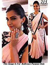 Sonam Kapoor Georgette Embroidered Pink Bollywood Style Saree - Get285