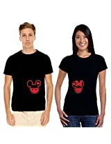 Giftsmate Cute Mickey and Minnie Couple T shirts, Black, Large