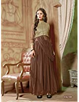Rozdeal Women Net Embroidered Unstitched 3/4 Sleeve Chocolae Anarkali Suit