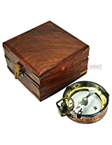 Antique Maritime Map reading Brass Nautical Compass With Wood Safety box Unique Vintage Collectible
