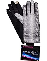 ISO Isotoner Women's Stretch Leathers Smartouch Gloves Black Python X-large