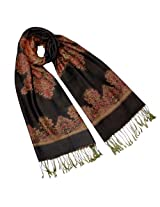 Rayon Snowflake Flower Tassel End Reversible Long Scarf Shawl