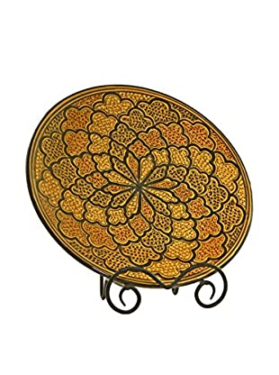 Le Souk Ceramique Honey Round Platter, Honey/Brown