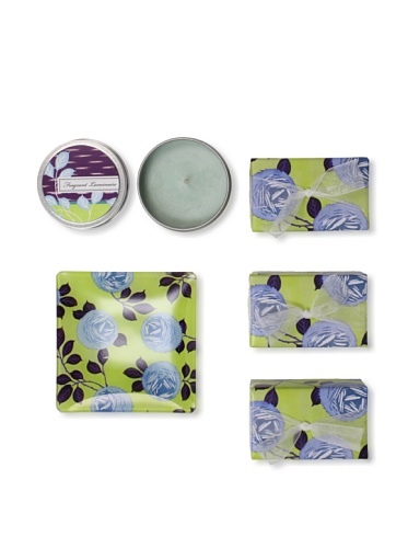 Mudlark Set of 3 Hand-Crafted Soaps in Soap Dish with a Candle Tin, Clare de Lune