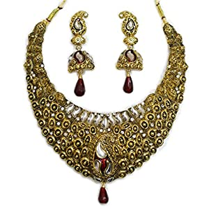 Zaveri Pearls Antique Gold Necklace Set With Kundan for Women-ZPAM47