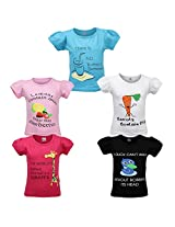 Goodway Junior Girls 5 Pack Did you know Themed Combo Pack of 5 T-Shirts - 2-3 Years