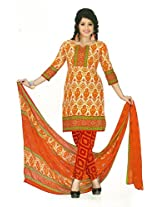 Shree Ganesh Clothing Women Crepe Salwar Suit Dress Material (M-4263 _Orange _Free Size)