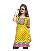 Karishma Suit - FREE Maybelline Colossal Kajal MRP 199 - s Yellow-Red Printed Pure Cotton dobby Unstitched Kurti Fabric For Women | KDTKPG21