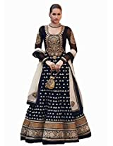 Designer New Black Floor Touch Embroidered Designer Anarkali Suit