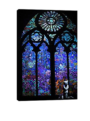 Banksy Stained Glass Window II Gallery Wrapped Canvas Print
