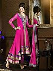 Pink Top Georgette With Santoon Bottom & Chiffon Dupatta Resham Embroidery Work Anarkali Salwar Kameez Suit