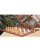 Chessbazaar Combo Of Shera Series Chess In Bud Rose/Box Wood & Red Ash Burl Maple Gloss Finish Board With Free Wooden Storage Box