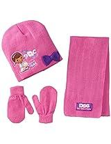 Berkshire Little Girls' 3 Piece Doc Mcstuffins Lambie Hat Mitten and Scarf Set, Multi, One Size