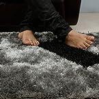 LOOOP Shaggy Carpet Silver & Black
